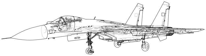Aire Jet Fighter con los misiles en el fondo blanco Ejemplo creado de 3d ilustración del vector