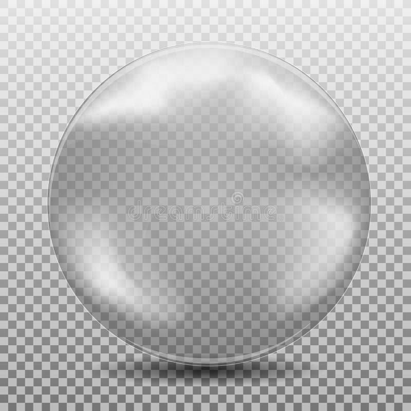 Aire negro blanco realista grande, bublle del watter, esfera de cristal transparente con resplandores e isola de la sombra stock de ilustración