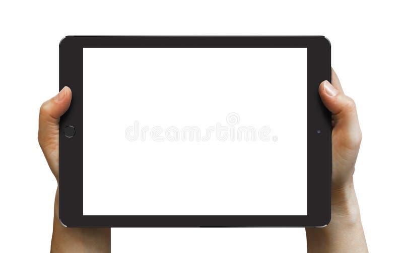 Aire negro 2 del iPad en las manos de la mujer imagen de archivo libre de regalías