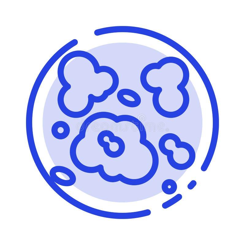 Aire, polvo, ambiente, línea de puntos azul línea icono de la contaminación stock de ilustración