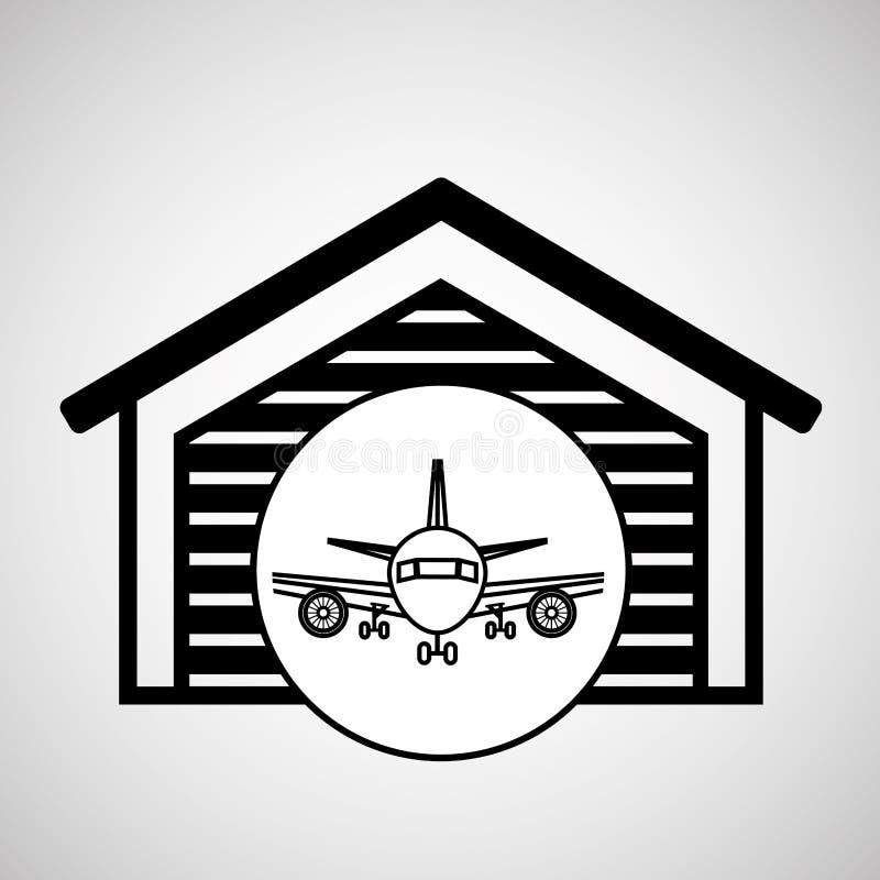Aireal lagerbyggnadstransport royaltyfri illustrationer