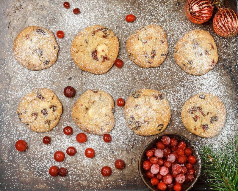 Airelle rouge de canneberge, biscuits d'airelle avec du chocolat blanc photos stock