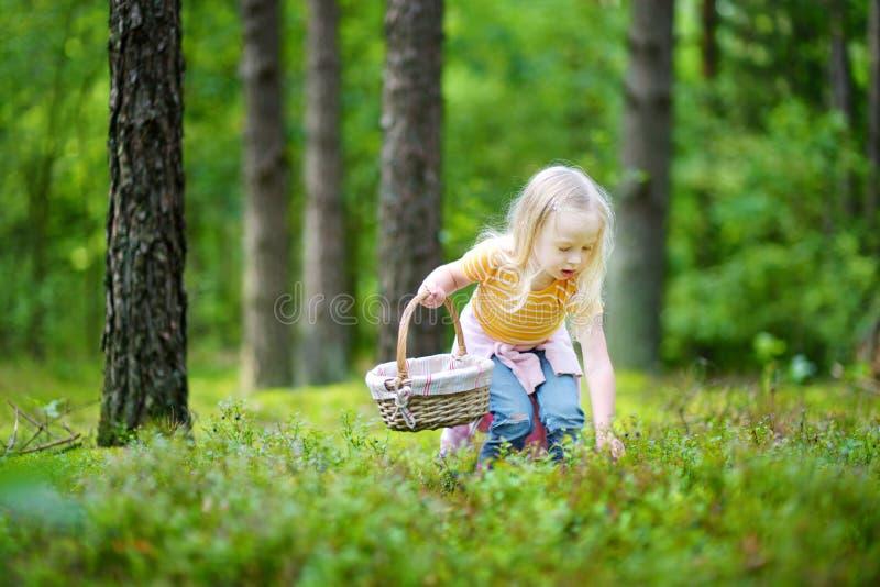 Airelles rouges adorables de cueillette de petite fille dans la forêt photo stock