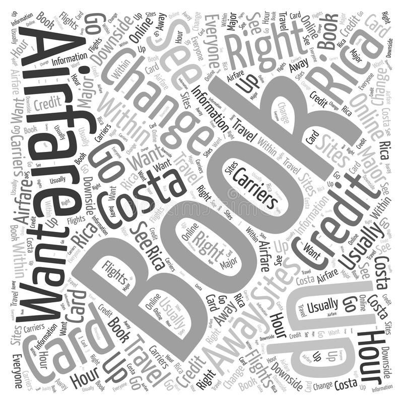 Airfares to Costa Rica word cloud concept background vector illustration