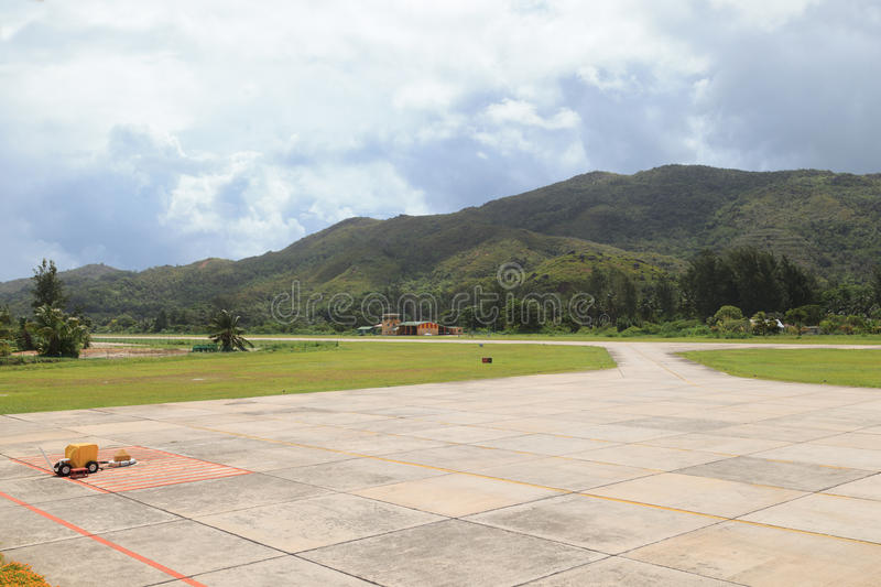 Airfield in Seychelles. Airfield in Praslin island, Seychelles stock images