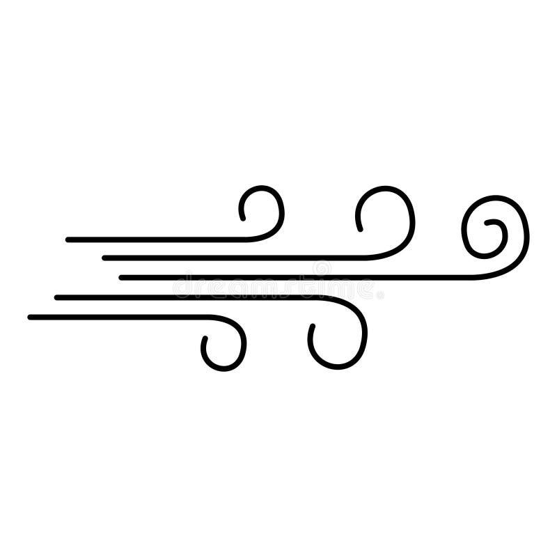 Airflow ikony wiatr Sylwetka symbolu wektoru airflow royalty ilustracja