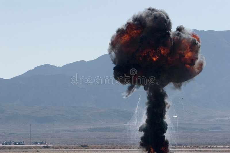 Airforce bombing at airshow in Nevada royalty free stock photo