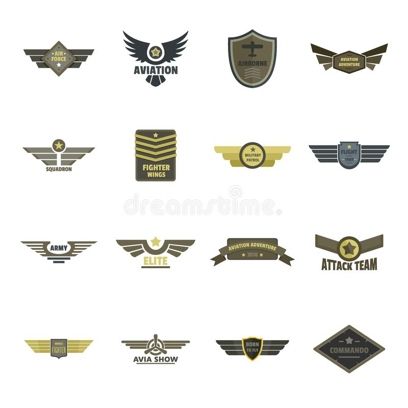 Airforce navy military logo icons set, flat style. Airforce navy military logo icons set. Flat illustration of 16 airforce navy military logo vector icons for stock illustration