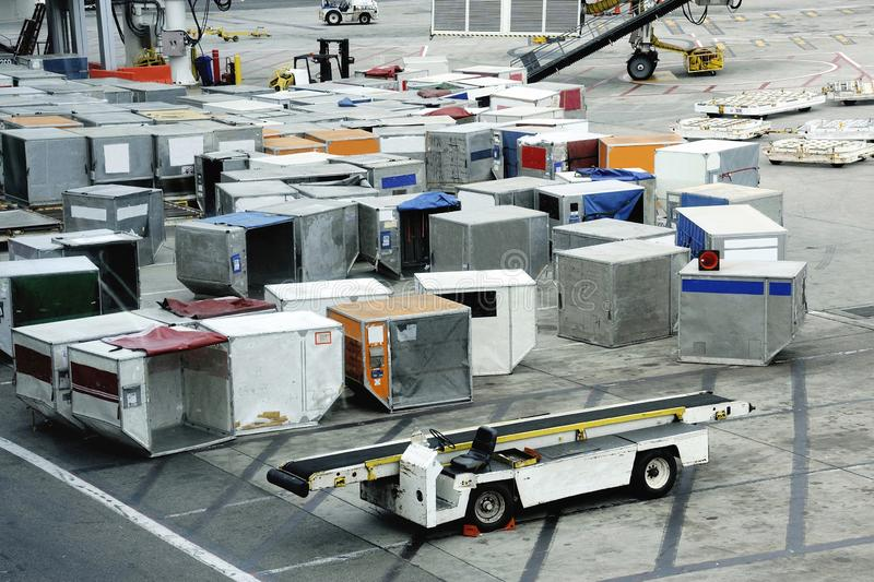Airfreight at an airport on the platform royalty free stock photography