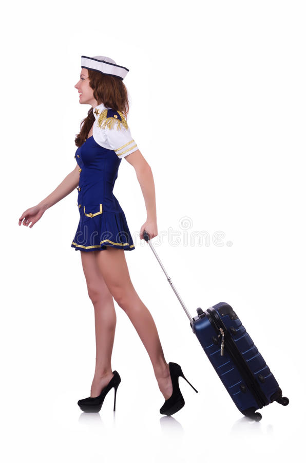Download Airhostess with luggage stock photo. Image of background - 30345666