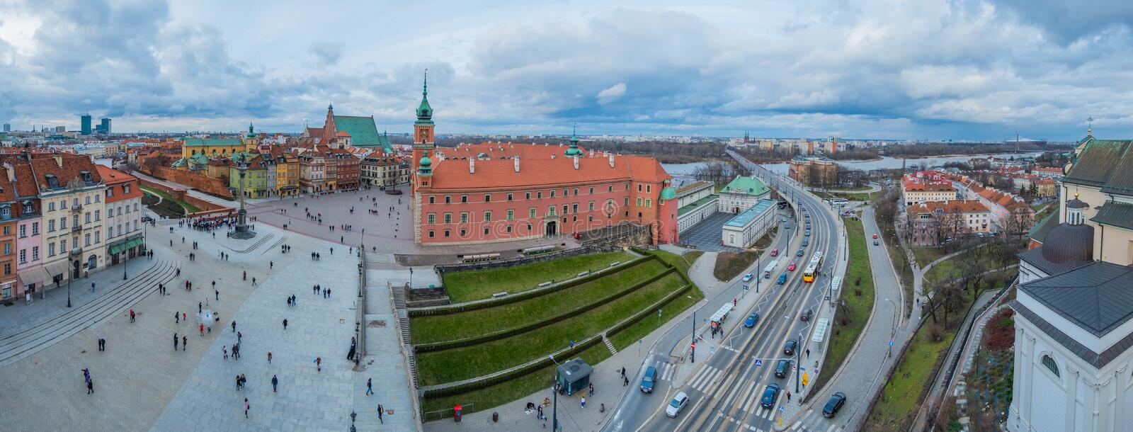 Royal Castle and the Castle Square in Old Town of Warsaw, Poland. Airial view of Royal Castle and the Castle Square in Old Town of Warsaw, Poland. Panorama royalty free stock photo