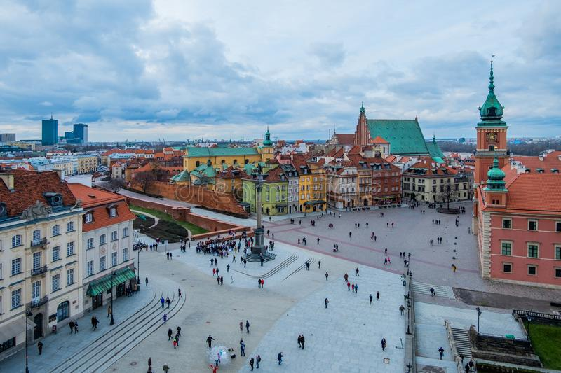 Royal Castle and the Castle Square in Old Town of Warsaw, Poland. Airial view of Royal Castle and the Castle Square in Old Town of Warsaw, Poland stock image