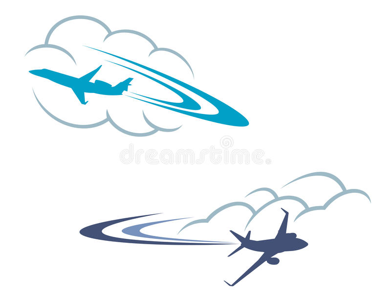 Airlanes in sky stock photography