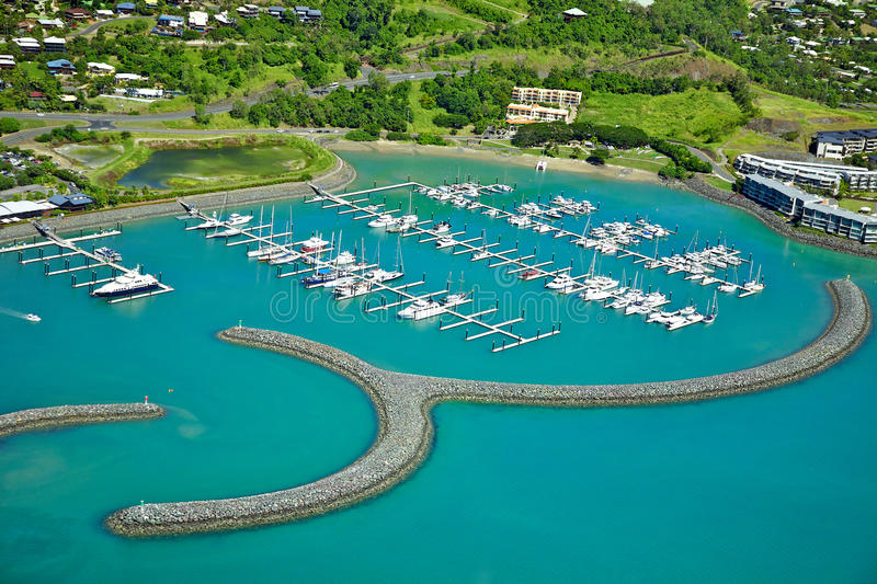 Airlie Beach Marina. Aerial landscape view of Airlie Beach marina in the Whitsundays Australia royalty free stock photo