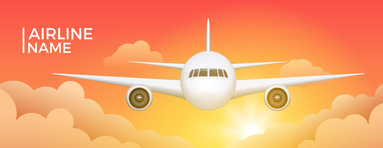 Airline banner with aircraft travel aviation background. Airplane flight sky tourism jet illustration poster stock illustration