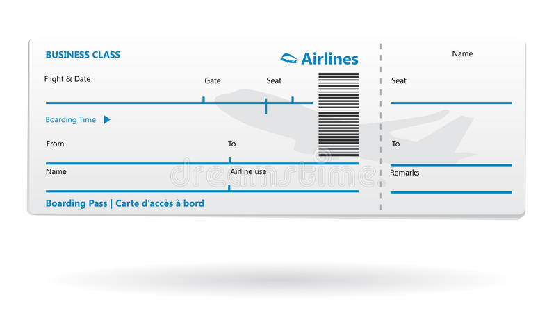 Airline boarding pass blank royalty free illustration