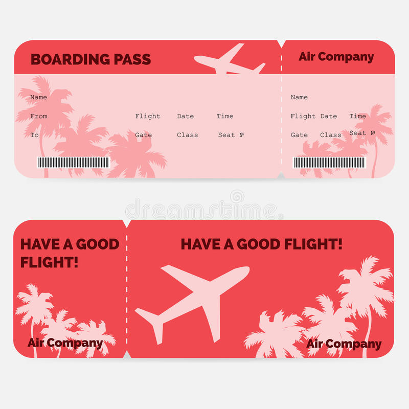 Airline boarding pass. Red ticket isolated on vector illustration