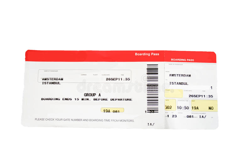Download Airline Boarding Pass In Red And White Stock Image - Image: 12985957