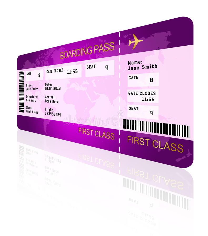 Airline boarding pass ticket isolated over white royalty free illustration