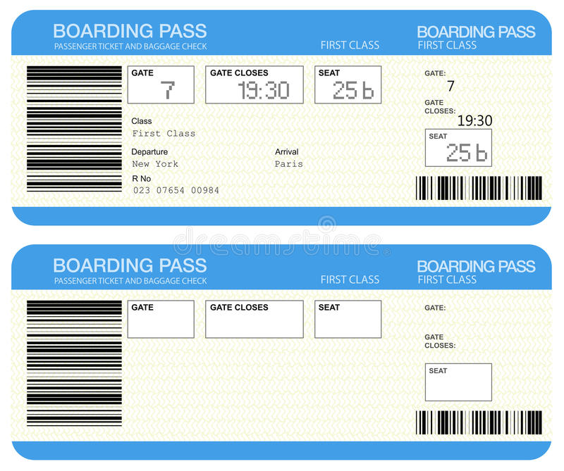 Airline boarding pass tickets stock illustration