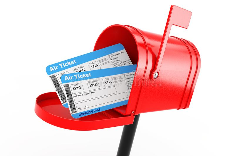 Airline Boarding Pass Tickets in Red Mailbox. 3d Rendering. Airline Boarding Pass Tickets in Red Mailbox on a white background. 3d Rendering royalty free illustration