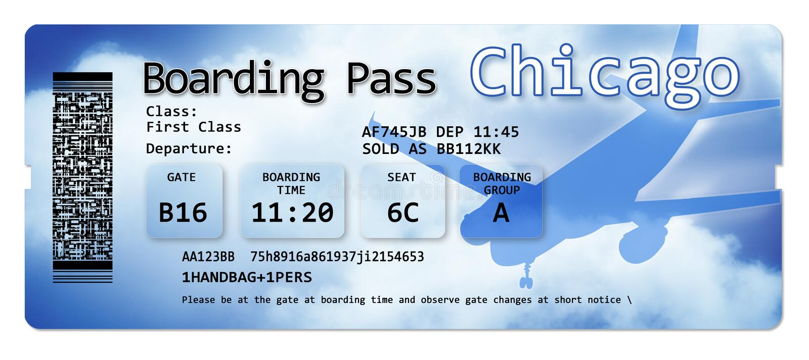 Airline boarding pass tickets to Chicago - The contents of the image are totally invented and does not contain under copyright. Parts royalty free stock photo