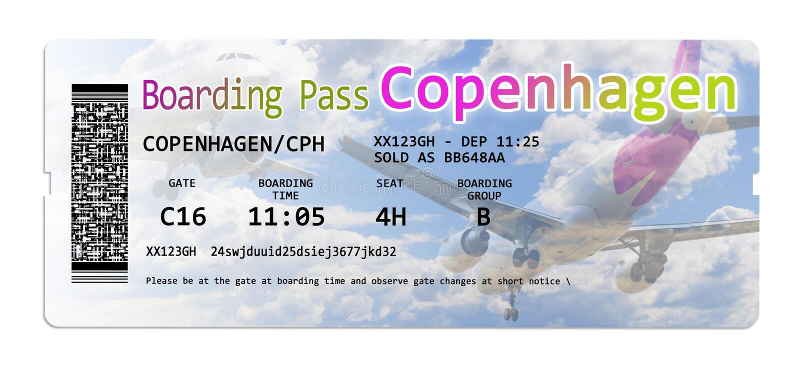 Airline boarding pass tickets to Copenhagen isolated on white - The contents are totally invented and does not contain under. Copyright parts stock images