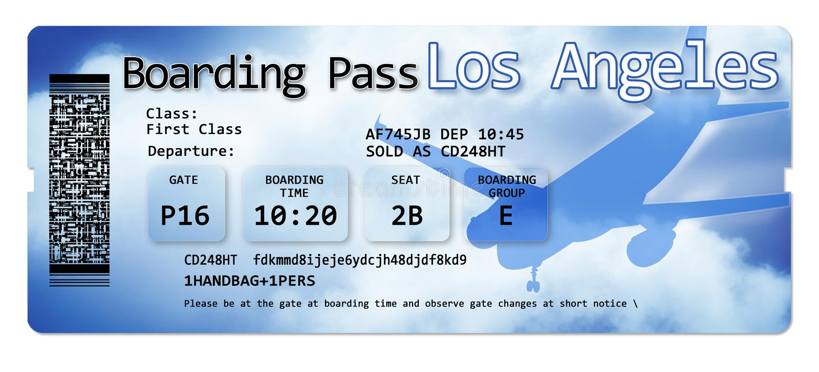 Airline boarding pass tickets to Los Angeles - The contents of the image are totally invented and does not contain under copyright. Parts vector illustration