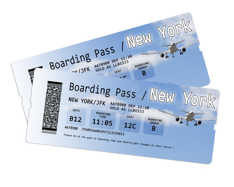 Airline boarding pass tickets to New York isolated on white royalty free stock photography