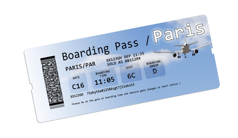 Airline boarding pass tickets to Paris isolated on white royalty free stock images
