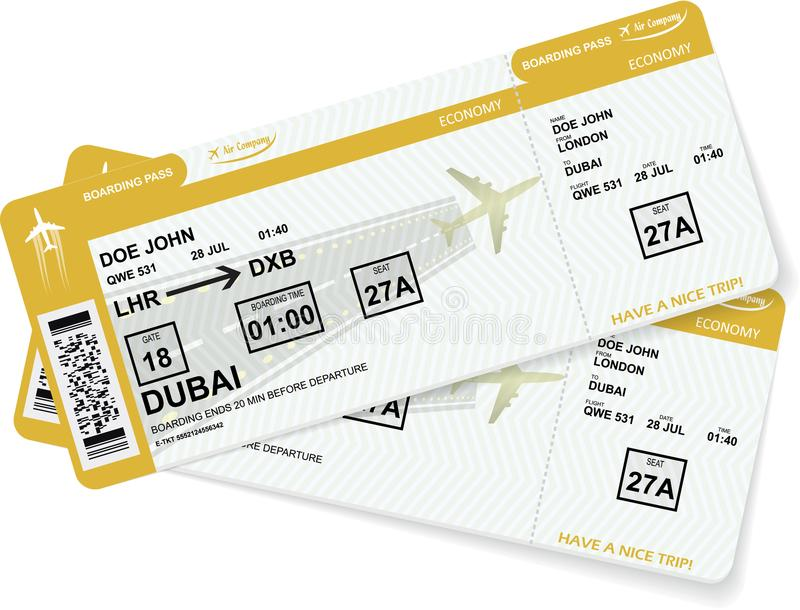 Airline boarding pass tickets to plane for travel. Or journey. Vector illustration stock illustration