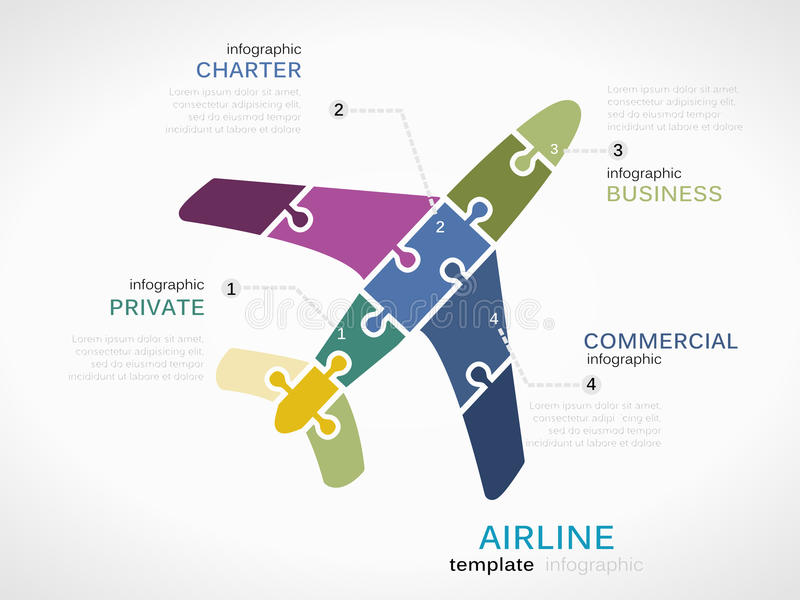 Airline. Concept infographic template with plane made out of puzzle pieces royalty free illustration