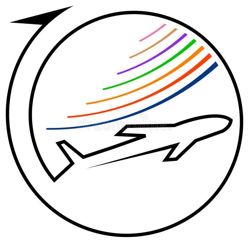 Airline logo. Isolated line art airline logo design stock illustration