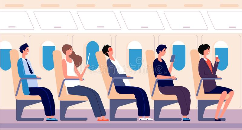 Airline passengers. People traveling with tablet and smartphone inside airplane board. Air transportation and tourism. Airline passengers. People traveling with stock illustration