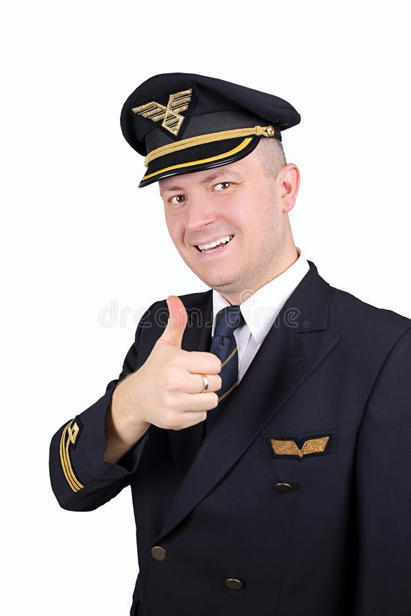 Airline pilot thumbs up royalty free stock images