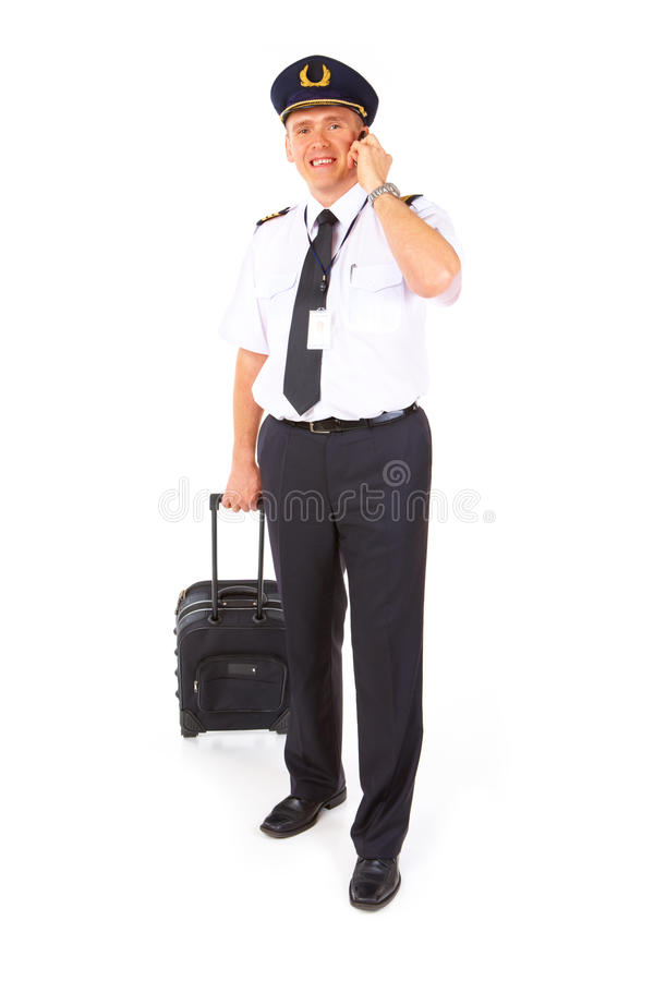 Airline pilot with trolley