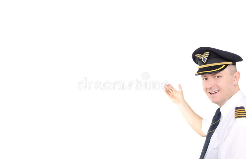 Airline pilot on white background. royalty free stock image