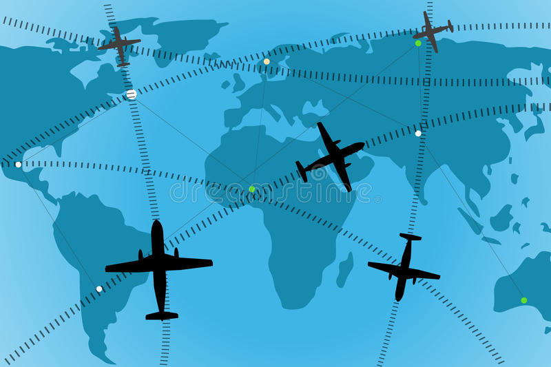 Airline route stock illustration