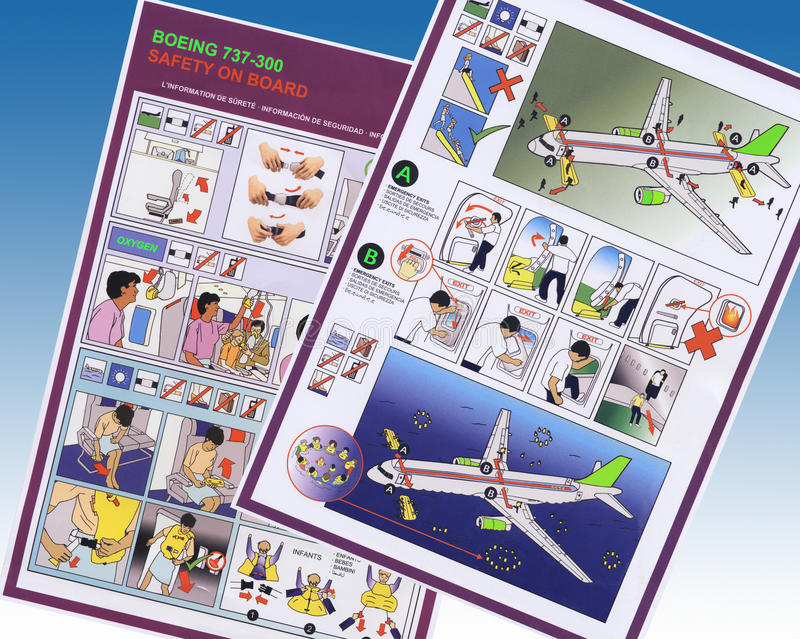 Airline Safety Information - Boeing Airliner. Airline safety information cards for use on the Boeing 737 - 300 airliner royalty free stock photography
