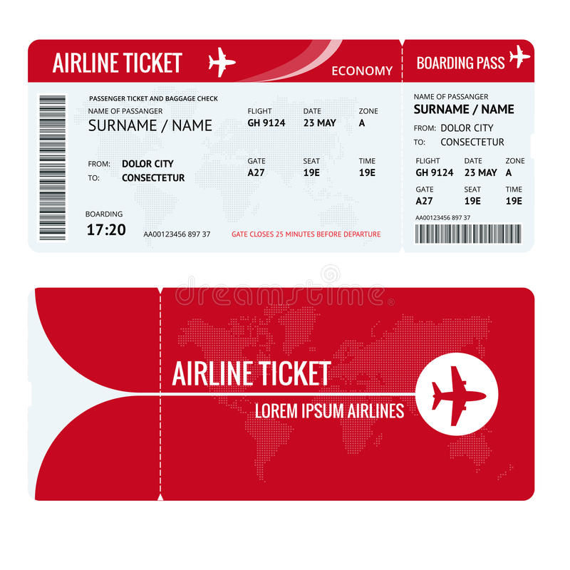 Airline ticket or boarding pass for traveling by plane isolated on white. Vector illustration. Airline ticket or boarding pass for traveling by plane isolated vector illustration