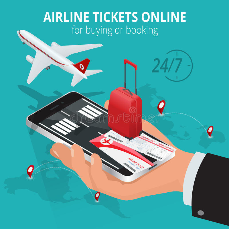 Airline tickets online. Buying or booking Airline tickets. Travel, business flights worldwide. Online app for tickets. Order. Internation flights. Flat 3d stock illustration