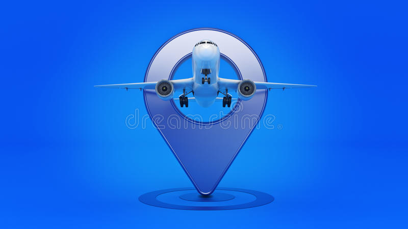 Airline travel concept. Airport pointer. Airplane and pin isolated on white. vector illustration