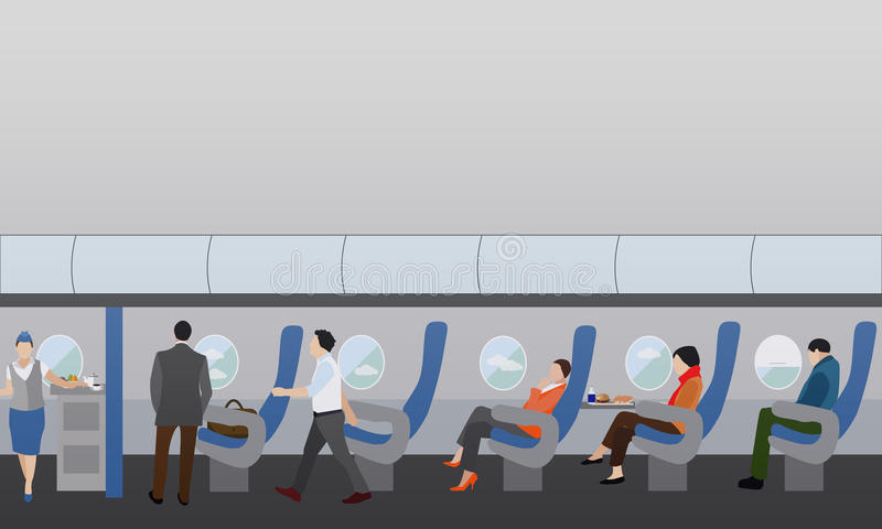 Airline travel passengers concept vector banner. People in airplane. Aircraft interior. royalty free illustration