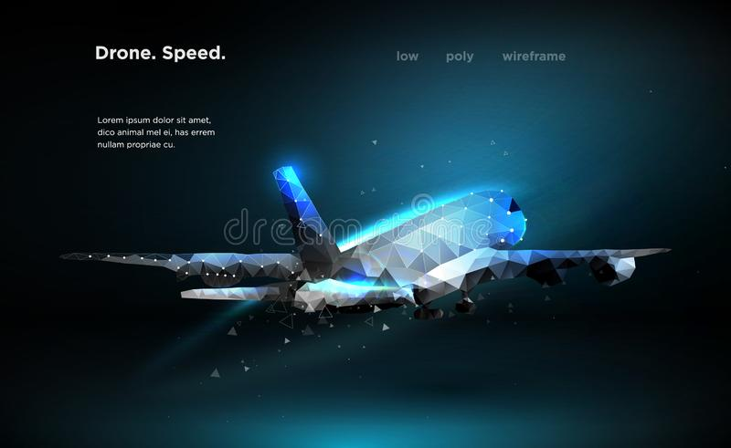 Airliner Aircraft Speed A flying airliner is a top view Illustration is executed in the form of particles, geometric art stock illustration