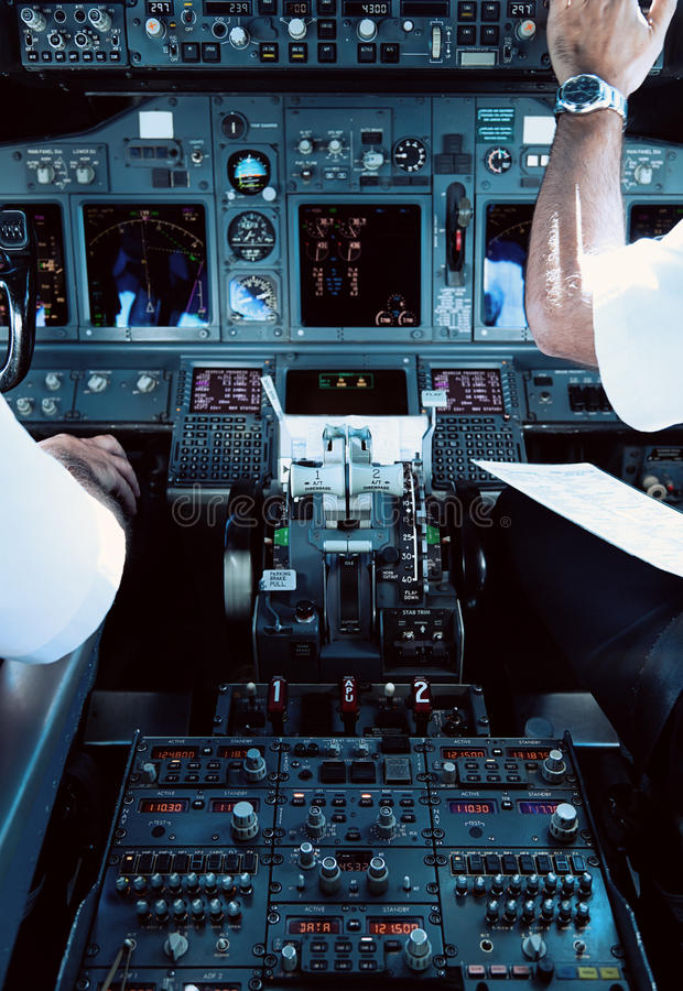 Download Airliner Cockpit With Pilots Stock Photo - Image: 28005044