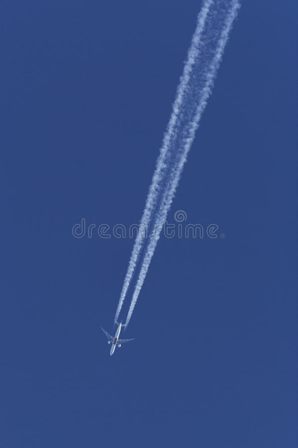 Airliner at cruising altitude royalty free stock photos