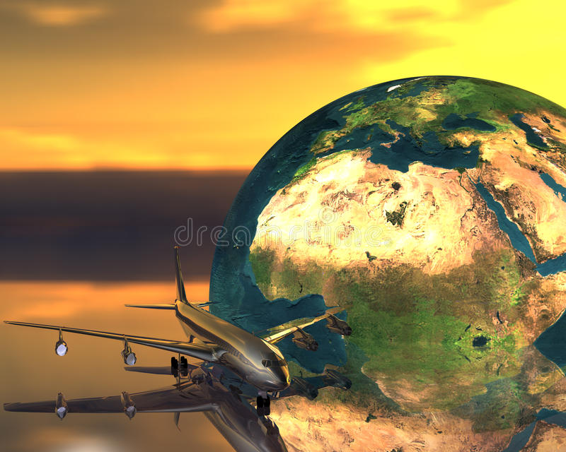 Download Airliner with a globe stock illustration. Image of industry - 9665143