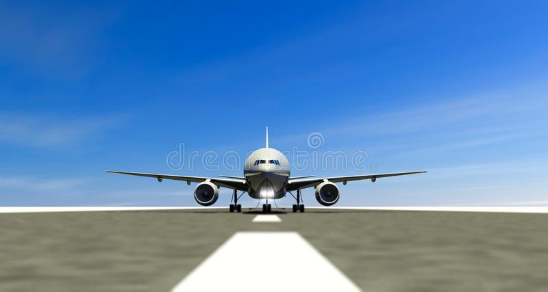 Airliner on the landing strip of an airport, take-off runway, taxiing engines. vector illustration