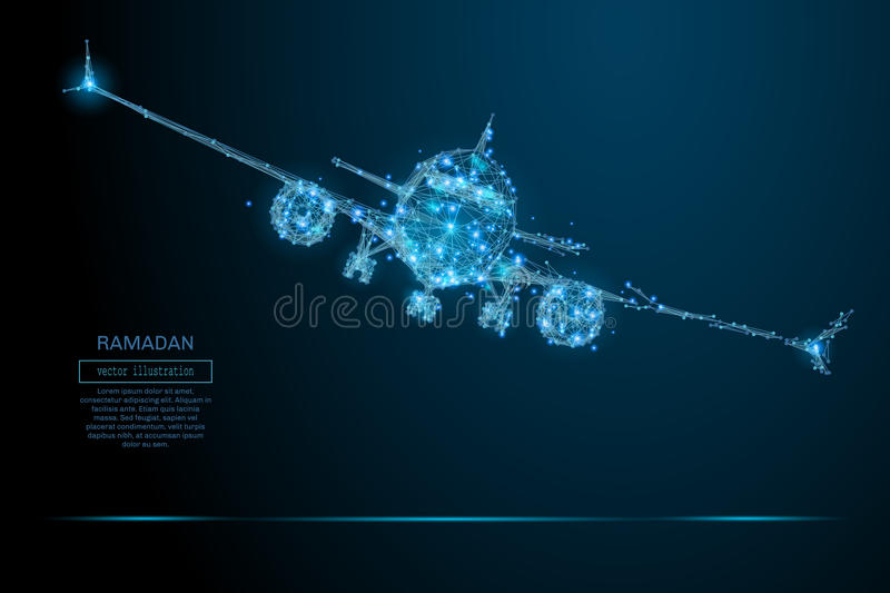 Airliner low poly blue vector illustration