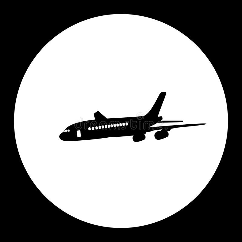Airliner passanger aircraft simple black icon vector illustration